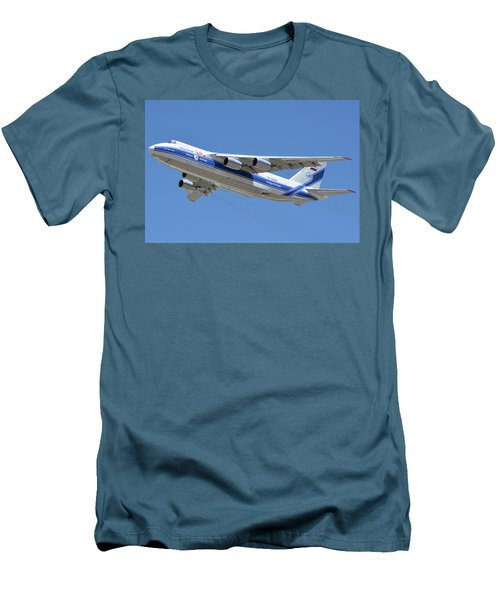 Men's T-Shirt (Slim Fit) featuring the photograph Volga-dnepr An-124 Ra-82068 Take-off Phoenix Sky Harbor June 15 2016 by Brian Lockett