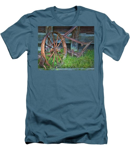 Men's T-Shirt (Slim Fit) featuring the photograph Wagon Wheel And Fence by David and Carol Kelly