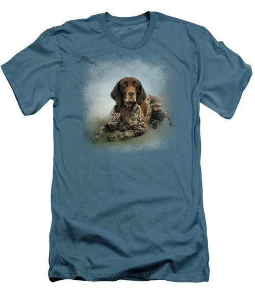 Waiting For A Cue - German Shorthaired Pointer Men's T-Shirt (Slim Fit) by Jai Johnson