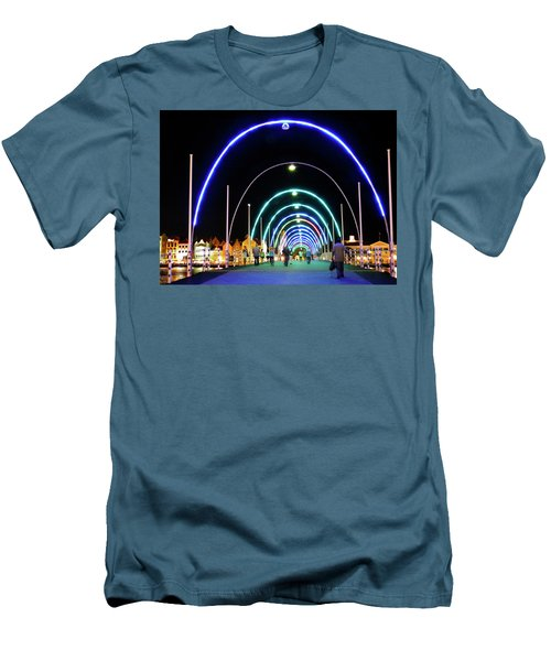 Men's T-Shirt (Slim Fit) featuring the photograph Walk Along The Floating Bridge, Willemstad, Curacao by Kurt Van Wagner