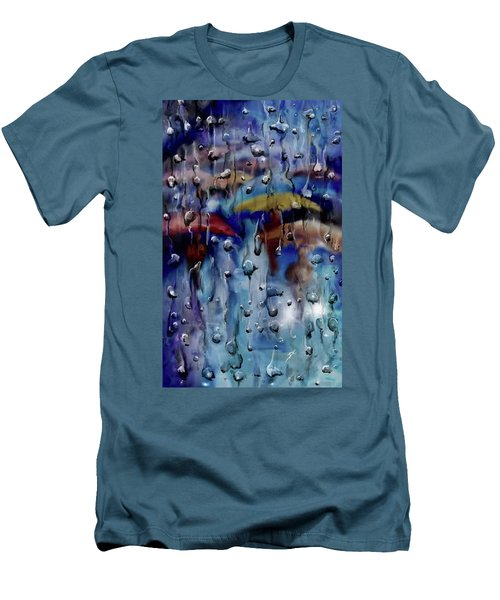 Men's T-Shirt (Athletic Fit) featuring the digital art Walking In The Rainfall by Darren Cannell