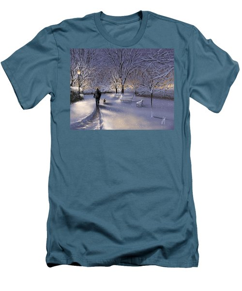 Men's T-Shirt (Slim Fit) featuring the painting Walking In The Snow by Veronica Minozzi
