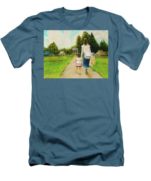 Men's T-Shirt (Slim Fit) featuring the drawing Walking To The Shrine by Tim Ernst