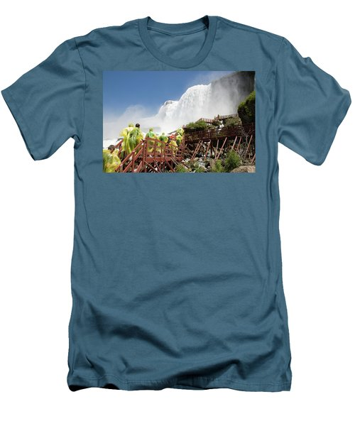 Men's T-Shirt (Athletic Fit) featuring the photograph Walking Up Below Niagara Falls by Jeff Folger