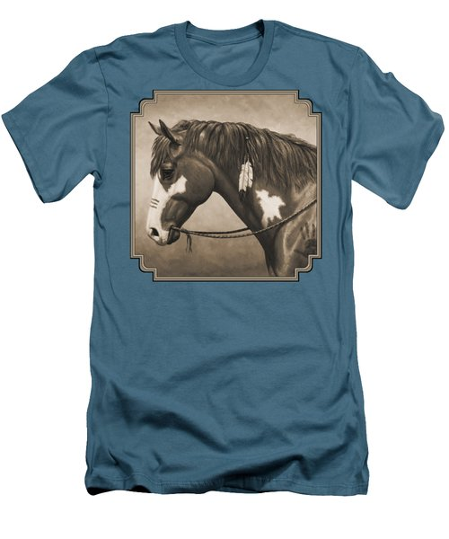 War Horse Aged Photo Fx Men's T-Shirt (Slim Fit) by Crista Forest