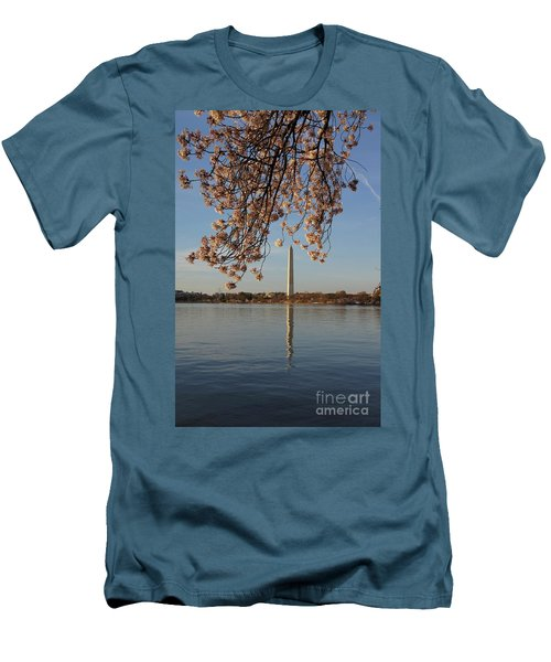 Washington Monument With Cherry Blossoms Men's T-Shirt (Athletic Fit)
