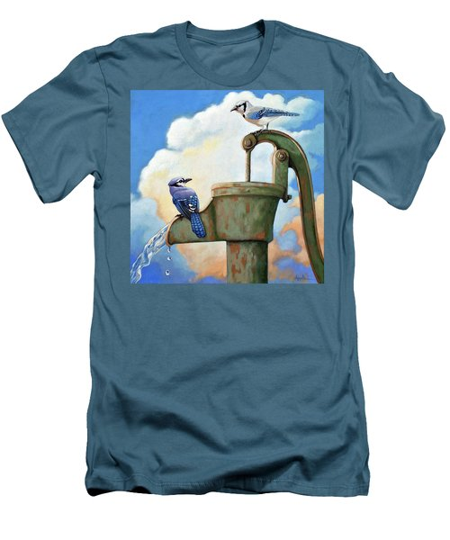 Men's T-Shirt (Slim Fit) featuring the painting Water Is Life #3 -blue Jays On Water Pump Painting by Linda Apple