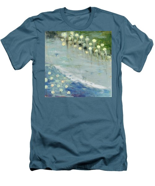 Men's T-Shirt (Slim Fit) featuring the painting Water Lilies by Michal Mitak Mahgerefteh