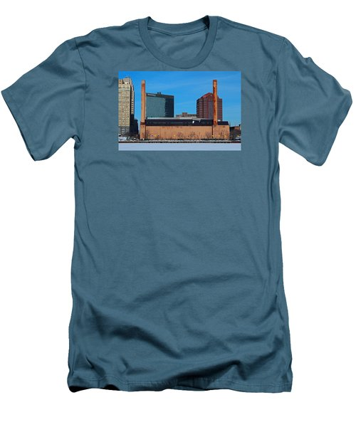 Men's T-Shirt (Slim Fit) featuring the photograph Water Street Steam Plant In Winter by Michiale Schneider