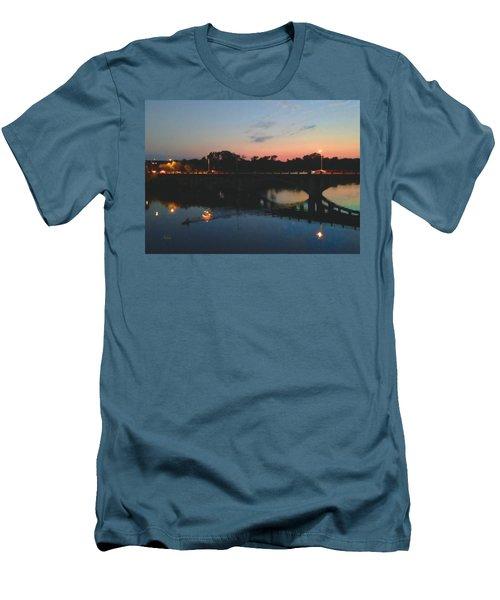 Watercolor Sunset Over Lamar Street Bridge Austin Texas Men's T-Shirt (Athletic Fit)