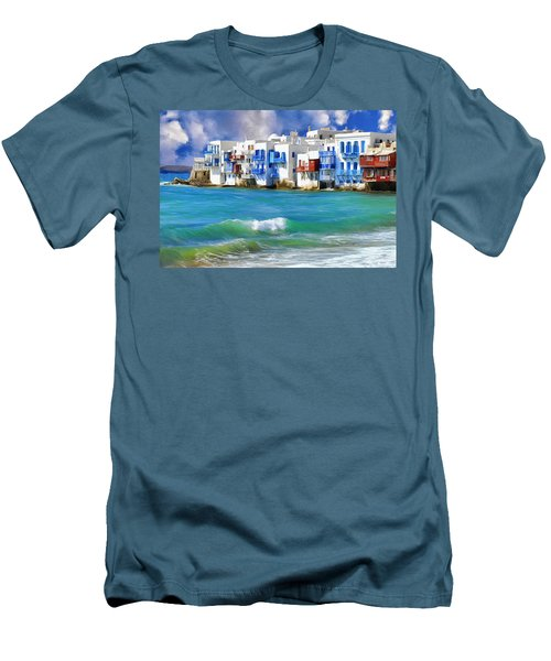 Waterfront At Mykonos Men's T-Shirt (Slim Fit) by Dominic Piperata