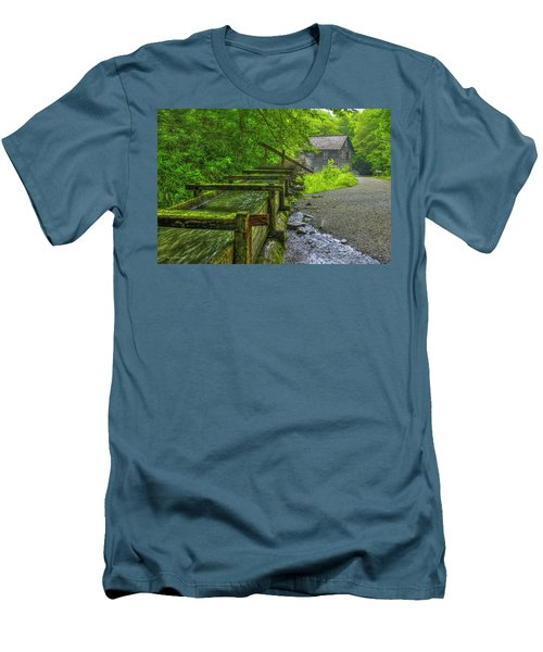 Men's T-Shirt (Slim Fit) featuring the photograph Waterworks Mingus Mill Mingus Creek Art  Great Smoky Mountains Art by Reid Callaway