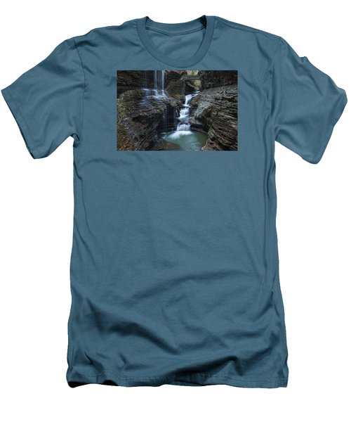 Watkins Glen Rainbow Falls Men's T-Shirt (Slim Fit) by Stephen Stookey
