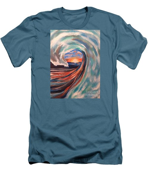 Men's T-Shirt (Slim Fit) featuring the painting Wave by Denise Tomasura