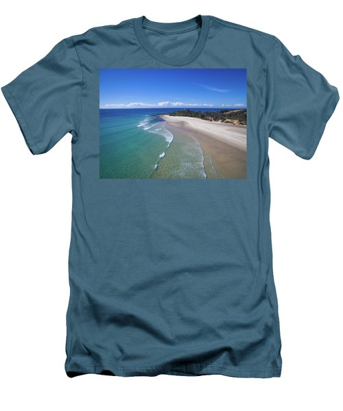 Waves Rolling In To North Point Beach On Moreton Island Men's T-Shirt (Athletic Fit)
