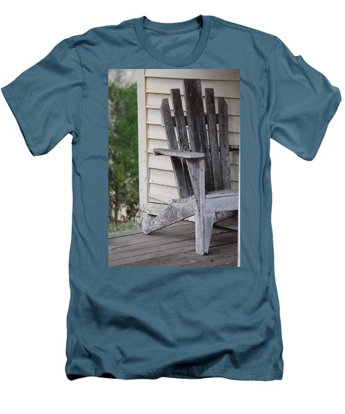 Men's T-Shirt (Slim Fit) featuring the photograph Weathered Porch Chair by Debbie Karnes