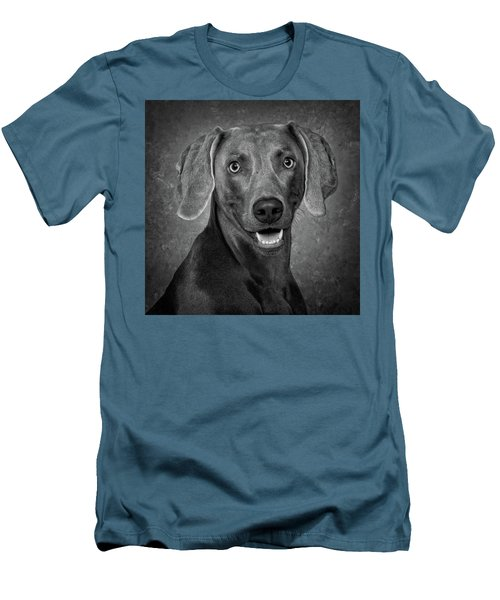 Men's T-Shirt (Slim Fit) featuring the photograph Weimaraner In Black And White by Greg Mimbs