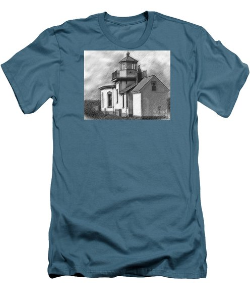 West Point Lighthouse Sketched Men's T-Shirt (Slim Fit) by Kirt Tisdale