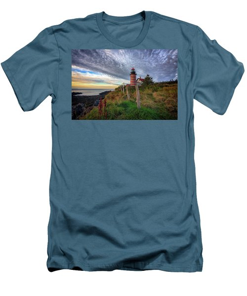 Men's T-Shirt (Athletic Fit) featuring the photograph West Quoddy Head Light Station by Rick Berk