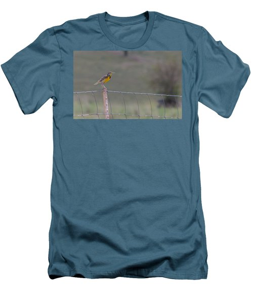 Men's T-Shirt (Athletic Fit) featuring the photograph Western Meadowlark by Fran Riley
