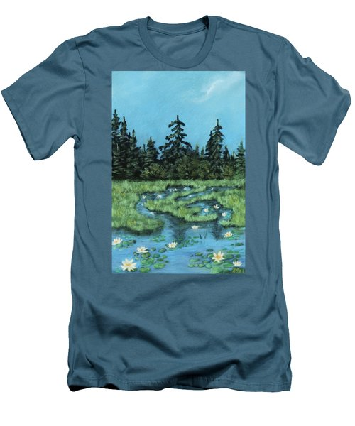 Men's T-Shirt (Athletic Fit) featuring the painting Wetland - Algonquin Park by Anastasiya Malakhova