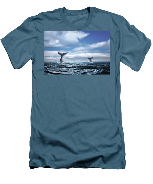 Men's T-Shirt (Slim Fit) featuring the photograph Whale Of A Tail by Tom Mc Nemar