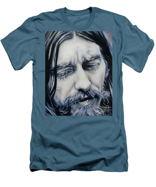 While My Guitar Men's T-Shirt (Slim Fit) by Rebecca Glaze