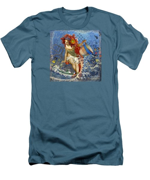 Mermaid Aquarius Vintage Whimsical Gothic Funny Men's T-Shirt (Slim Fit) by Mary Hubley