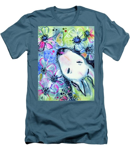 Men's T-Shirt (Slim Fit) featuring the painting White Bull Terrier And Butterfly by Zaira Dzhaubaeva