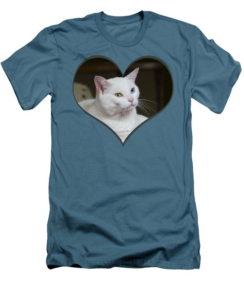 White Cat On A Transparent Heart Men's T-Shirt (Slim Fit) by Terri Waters