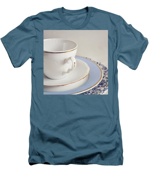 Men's T-Shirt (Slim Fit) featuring the photograph White China Cup, Saucer And Plates by Lyn Randle