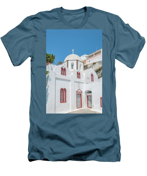 Men's T-Shirt (Slim Fit) featuring the photograph White Church At Fira by Antony McAulay