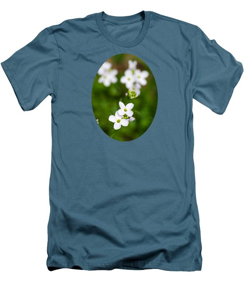 White Cuckoo Flowers Men's T-Shirt (Slim Fit) by Christina Rollo