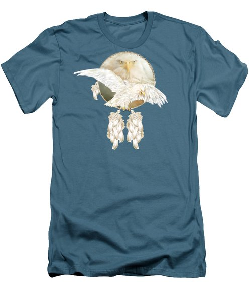 Men's T-Shirt (Slim Fit) featuring the mixed media White Eagle Dreams by Carol Cavalaris