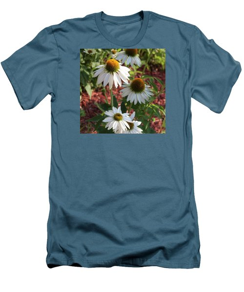 White Echinacea In Pastel Men's T-Shirt (Slim Fit) by Suzanne Gaff