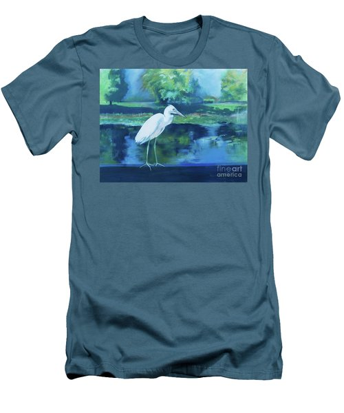 Men's T-Shirt (Athletic Fit) featuring the pastel White Egret Bird On Blue by Robin Maria Pedrero