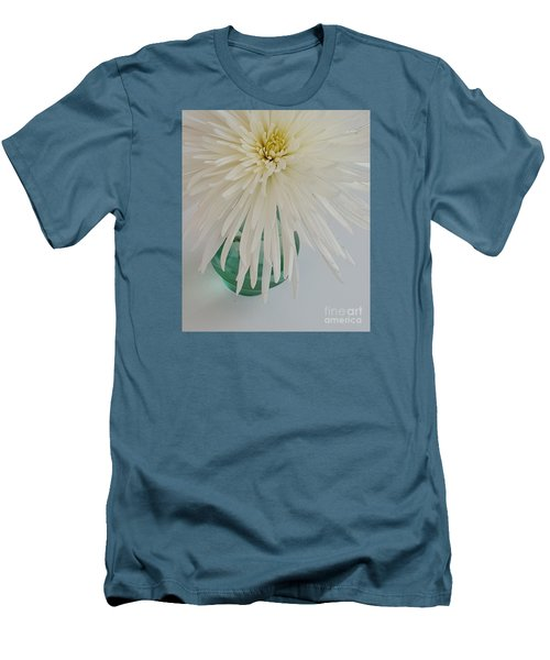 White Flower In A Vase By Jasna Gopic Men's T-Shirt (Slim Fit) by Jasna Gopic