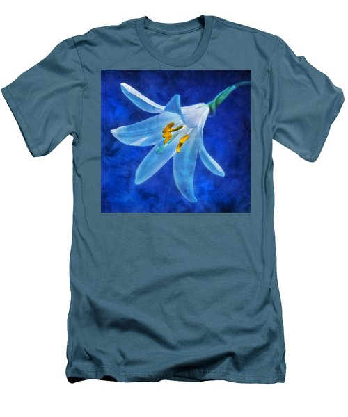 Men's T-Shirt (Slim Fit) featuring the digital art White Lilly by Ian Mitchell