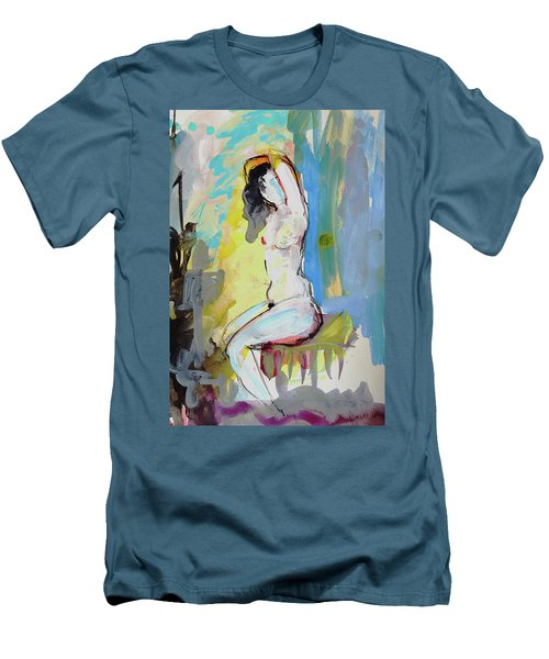 White Nude And Bird Men's T-Shirt (Slim Fit) by Amara Dacer