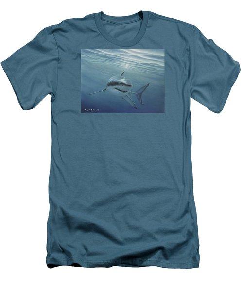 White Shark Men's T-Shirt (Slim Fit) by Angel Ortiz