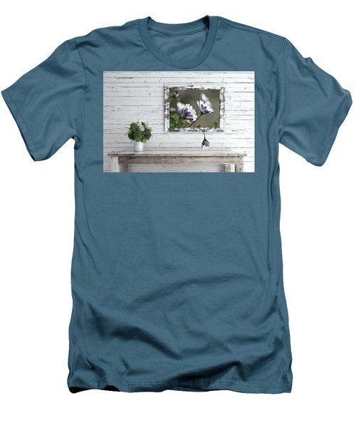 Men's T-Shirt (Athletic Fit) featuring the photograph White Timber Cottage By Kaye Menner by Kaye Menner