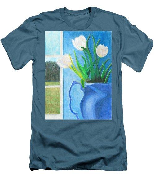White Tulips Men's T-Shirt (Slim Fit) by Arlene Crafton