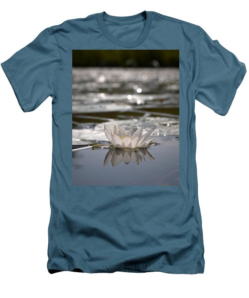 Men's T-Shirt (Slim Fit) featuring the photograph White Waterlily 3 by Jouko Lehto