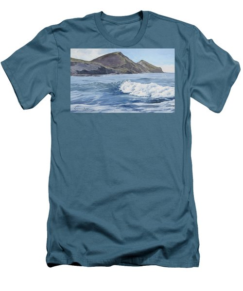 White Wave At Crackington  Men's T-Shirt (Athletic Fit)