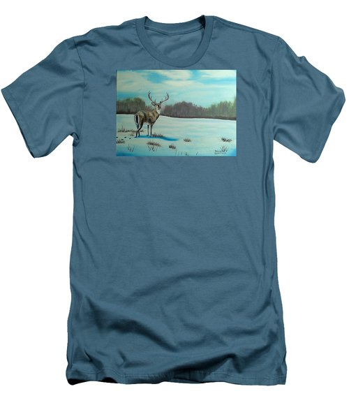 Whitetail Buck Men's T-Shirt (Slim Fit) by Brenda Bonfield