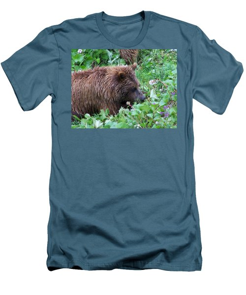 Wild Bear Eating Berries  Men's T-Shirt (Slim Fit) by Kathy  White