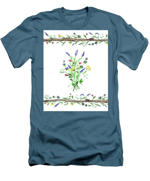 Men's T-Shirt (Athletic Fit) featuring the painting Wild Flowers Watercolor Design by Irina Sztukowski