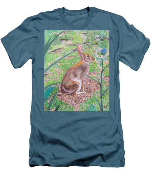 Men's T-Shirt (Slim Fit) featuring the painting Wild Rabbit by Hilda and Jose Garrancho