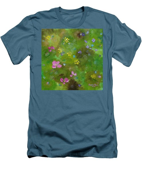 Men's T-Shirt (Athletic Fit) featuring the painting Wildflower Support by Judith Rhue