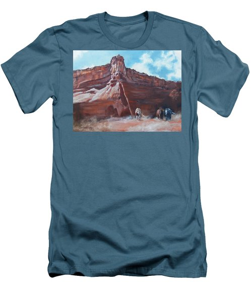 Men's T-Shirt (Slim Fit) featuring the painting Wind Horse Canyon by Karen Kennedy Chatham